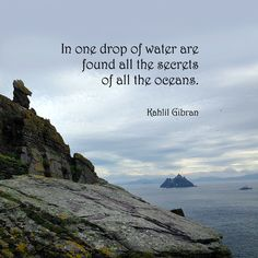 """""""In one drop of water are found all the secrets of all the oceans."""" ―Kahlil Gibran  Photo: View of Little Skellig from Skellig Michael, County Kerry, Ireland. 2014."""
