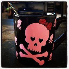 Skull Mug i have a couple and my roomates put them in the dishwasher ruined them! Coffee Cups, Coffee Coffee, Black Coffee, Coffee Time, Crane, Goth Home, Pink Skull, Halloween Mug, Cute Cups