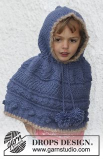 "Knitted DROPS poncho with textured pattern and hood in ""Nepal"". Pompoms and crochet edges in Symphony. Size 3 - 12 years. ~ DROPS Design"