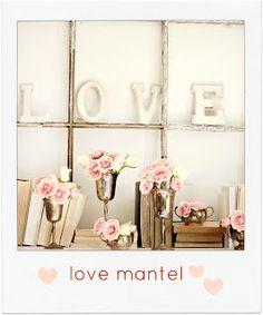 holiday, valentine day ideas, mantels, pink roses, window display, letter, decorating ideas, vintage windows, craftberri bush