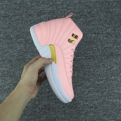 769c5e1afc5 2017 Air Jordan 12 GS Pink Lemonade Pink White Gold For Sale-5 Jordan Heels
