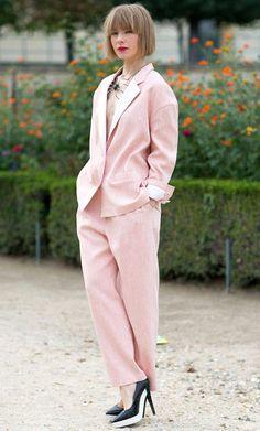Pink Is Trending. Cream Pink Pantsuit, Street Style Spring Summer2014Paris#Fashion Week