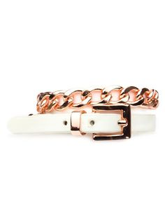 This striking wrap bracelet is a cool hybrid of motifs. It's Uptown elegant in a C. Z. Guest way, with its rose gold curb links, while the belt-like detail in sleek white leather makes it superbly sportif chic, too.