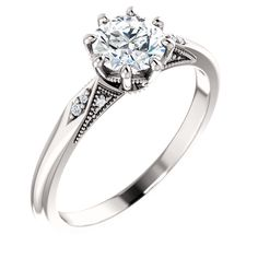 White Gold 8 prong/claw Engagement Ring set with a Round diamond, also available in Yellow gold,Rose gold and Platinum. Engagement Ring Settings, Wedding Engagement, Diamond Engagement Rings, Wedding Rings, Resin Ring, Rings Online, White Gold, Rose Gold, Band