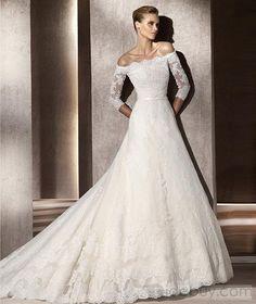 Fabulous A-line 3/4-Length Sleeve Bateau Organza Wedding Dresses 2012 Spring Trends