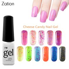 Zation Gel Varnish Cheese Nail Polish Candy Color Bling UV Gel Ice Cream Color Nail Gel Colorful Lacquer Enamel Nail Art Polish