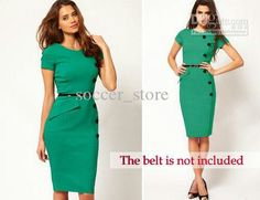 Work Dress With Belt New Fashion OL Women Ladies Office Clothes Knee-Length Bodycon Slim Pencil Party Dress Plus Size Sexy Dresses, Evening Dresses, Fashion Dresses, Short Sleeve Dresses, Dresses For Work, Summer Dresses, Midi Dresses, Bodycon Dress Parties, Party Dress