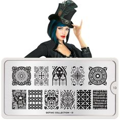 Meet Raven, our very own ambassador for gothic nail art designs. ●MoYou-London Gothic 13 includes 1 large design measuring 10.5 x 4.7cm made up of various sized designs. ● The stainless steel plate measures 6.5 x 12.5cm and have a vinyl backing for increased ease of use. ● Each plate comes in its own branded protective sleeve. ● The designs are engraved on to the image plate and covered with a protective film which needs to be removed before use. This item is the image plate only…