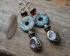 Indian tribal teardrop earrings / Bittersweet by JeSoulStudio, $34.00