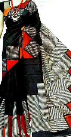 International & Domestic Shipping available. Shop More Block Printed Bishnupuri Silk Saree at Luxurionworld. Cutwork Saree, Phulkari Saree, Silk Saree Kanchipuram, Fancy Blouse Designs, Saree Blouse Designs, Drape Sarees, Silk Sarees, Cotton Saree Designs, Hand Painted Sarees