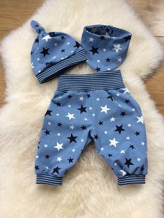 Babyset / 68 ♥ - un produit unique de Creative-Happine . Modern Baby Clothes, Baby Clothes Patterns, Sewing Patterns For Kids, Sewing For Kids, Baby Sewing, Baby Patterns, Baby Outfits, Kids Outfits, Baby Set