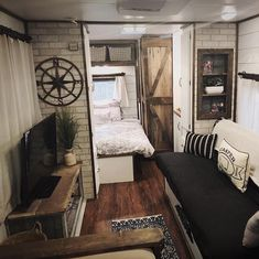 rv makeover before and after . rv makeover before and after wheels . rv makeover on a budget . Tyni House, Tiny House Living, Rv Living, Cozy House, Living Spaces, Living Room, Farm House, Camper Interior, Interior Design