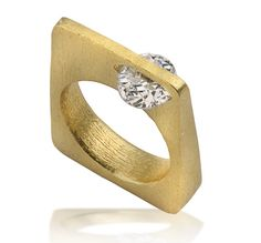 Square Ring Gold Plated Ring Geometric Ring Statement Ring