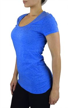 Belle Donne- Women's Cotton Short Sleeve Stretchy Scoop Neck Yoga Tshirt- Bright Blue / M