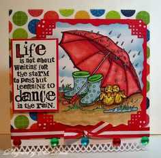 Digital Stamp Rainy Days with ducks umbrella by NanaVicsDigitals. The beautiful card was created by Sue, with my heartfelt thanks.