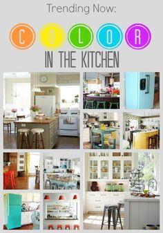 Color in the Kitchen | remodelaholic.com #trending #kitchencolors #paintedfridge
