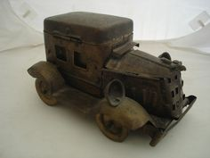 WW1 Period Brass Trench Art Model Motor Car made from Tobacco Tins