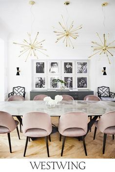 Pink Dining Rooms, Luxury Dining Room, Dining Room Lighting, Dining Room Design, Dining Room Chairs, Dining Table, Office Lighting, Dining Sets, Velvet Dining Chair