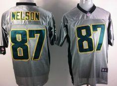 Nike Green Bay Packers #87 Jordy Nelson Gray Shadow Elite Jersey
