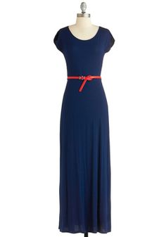 Ice Cream Outing Dress, #ModCloth Love the pop of red with this navy maxi dress.
