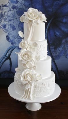 ~ Beautiful White on White Tiered Cake with Cascading White Roses ~
