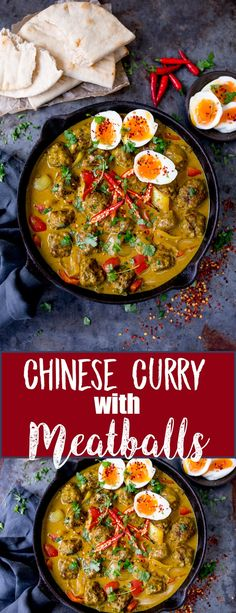 This Chinese Style Curry with Juicy Meatballs makes a great, comforting dinner. Serve with cauliflower rice for a lighter dinner! #chinesecurry #meatballs #asianmeatballs #asiancurry
