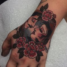 Thank you Sally for getting a lady and a man on your hand  still very sore and fresh but hopefully I can get some good pics when it's healed... by gemcartertattoo