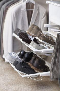 elfa Gliding Shoe Shelf for Flat Shoes - Platinum Shoe Storage Drawers, Shoe Shelves, Dressing, Sneaker Rack, Howard Storage, Shelving Solutions, Walk In Robe, Fancy Shoes, Flat Shoes