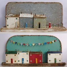 casitas repisa Summer and winter - Kirsty Elson's work? Clay Houses, Miniature Houses, Wooden Houses, Art Houses, Driftwood Crafts, Wooden Crafts, Wal Art, Deco Nature, Assemblage Art
