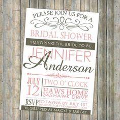 bridal shower invitation idea.....Pink vintage bridal shower invitations cheap EWBS028  