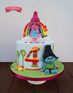 Trolls Cake with edible fondant models of Poppy and Branch By www.facebook.com/doncastercustomcakery
