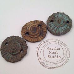 24 hour auction. Stoneware beads - Three 2-hole stoneware beads by Marsha Neal. (sold)