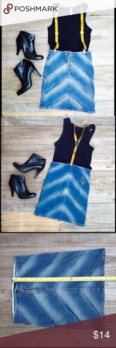 """Unique Vintage Boho Retro Denim Patch Pencil Skirt Sexy Unique Vintage Retro Denim Pencil Midi Skirt by Baby Phat. Distressed Faded Arrow Stripes Front & Back, Frayed Patchwork Seams Soft Comfy Some Stretch Fit Denim, Zipper, One Button, Waist 26"""" Length 18""""  SIZE 9.  Suspenders Not Included. Baby Phat Skirts Midi"""