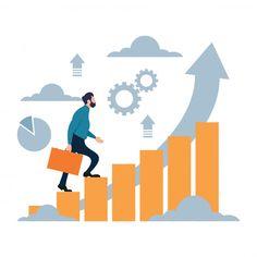 Businessman climbing up for successful goal Premium Vector Business Illustration, Flat Illustration, Digital Illustration, Cartoon Illustrations, Business Cartoons, Looney Tunes Cartoons, Sand Crafts, Futuristic Art, Sales And Marketing