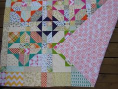 """""""Beach Comber"""" quilt pattern. low volume fabrics mixed with bright solids makes cute scrappy quilt"""