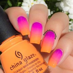 summer ombre / gradient - Nail Polishes from China Glaze Electric Nights Collection - The purple one is Violet Vibes, The pink one in the middle is Glow With The Flow and the orange one that Im holding is Home Sweet House @chinaglazeofficial #Neon #chinaglaze #SagaAdinaJosefina