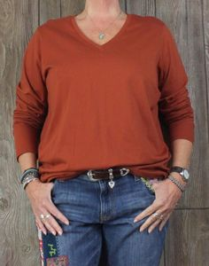 Lands End XL 18 size Long Sleeve Blouse Relaxed Fit Rust Brown Womens Vneck Top