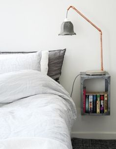 DIY Decor Trend: Copper (Spray paint pink ikea lamp, add copper tape)