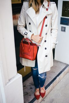 Red Stuart Weitzman Flats - Burberry Trench & Celine Bag