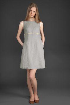 Gris Vestido de lino vestido de lino natural vestido mujer