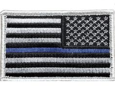 """V59 Tactical Thin blue line patch Reverse USA Flag Silver Law Enforcement police 2""""x3"""" Velcro Hook *Made in USA*"""