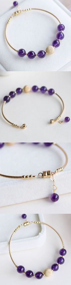 14K Gold Amethyst Beaded Bracelet Handmade Jewelry Gifts Women Jewelry Case, Jewelry Gifts, Handmade Jewelry, Purple Quartz, Purple Amethyst, Amethyst Jewelry, Birthstone Jewelry, Women Accessories, Jewelry Accessories