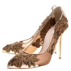 7c1b1bd77ac Oscar de la Renta Metallic Bronze Leather and Mesh Alyssa Embellished  Pointed Toe Pumps Size 40