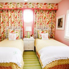 Adorable Pink and Green Shared #Bedroom