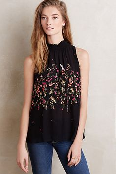 Lila Embroidered Tank #anthropologie  SO CUTE!  Just picked this up.  :)
