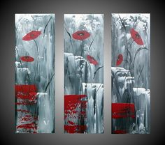 Acrylic Paintings Abstract Red Poppies Floral by acrylkreativ