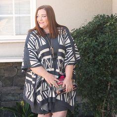 Forever 21 Aztec Patterned Poncho   Statement Coat & Sweater Cardigan Lookbook   Designing From My Closet   Plus & Inbetweenie Fashion Blog