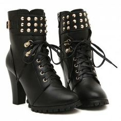 $18.40 Punk Style Women's Black Short Boots With Rivets and Buckle Design