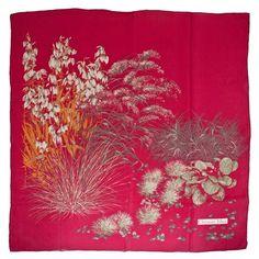 ACHICA | Vintage Dior Dark Pink Floral Silk Scarf, approx 80cm x 80cm