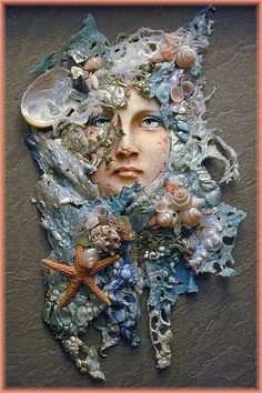 Sea Song Shadow Box by Creager Studios - Crafting SenseDiscover thousands of images about Mixed Media - arise your tangles sweet spring, worked in antique threads, metals, plastics and and hand dyed vintage textilesA piece with lots of detail and tec Seashell Art, Seashell Crafts, Seahorse Crafts, Mixed Media Canvas, Mixed Media Art, Assemblage Art, Polymer Clay Crafts, Art Plastique, Medium Art